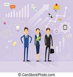 płaski, handlowy zaludniają, dyrektor, wektor, projektować, ludzki, drużyna, zasoby