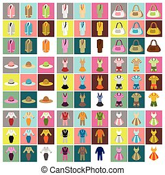 płaski, ikony, fason, montaż, odzież