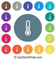 płaski, ikony, kolor, tła, termometr, biały, okrągły