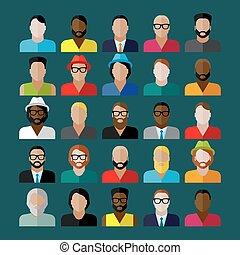 płaski, ikony, mężczyźni, wygląd, zbiór, icons., ludzie