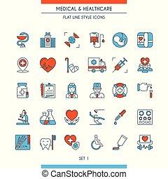 płaski, ikony, medyczny, 1, projektować, kreska