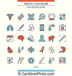 płaski, ikony, medyczny 2, projektować, kreska