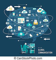 płaski, ikony pojęcia, komunikacja, globalny, projektować