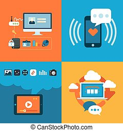 płaski, ikony pojęcia, ruchomy, apps, telefon, wystawiany zamiar, sieć, służby