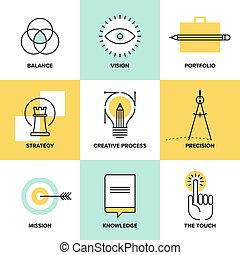 płaski, ikony, proces, twórczy, projektować, kreska