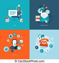 płaski, ikony, sieć, komunikacje
