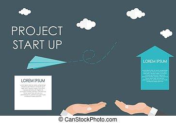 płaski, illustration., ręka., do góry, porcja, początek, wektor, szybki, concept.