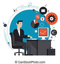 płaski, ilustracja, biuro, biznesmen