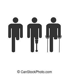 płaski, ilustracja, niepełnosprawny, wektor, amputacja, man., design.