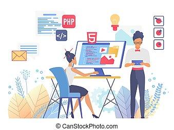 płaski, ilustracja, projektować, programowanie, wektor, sieć