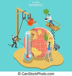 płaski, isometric, pojęcie, change., globalny, klimat, ocieplać, wektor