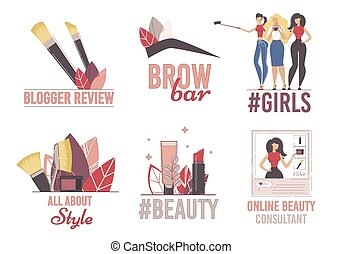 płaski, kanał, logo, wektor, komplet, piękno, blogger