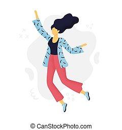 płaski, kartka pocztowa, kobieta, chorągiew, czuć się, abstrakcyjny, zaproszenia, websites, design., fason, używany, może, ads., joy., dziewczyna, śliczny, albo, skokowy