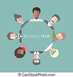 płaski, kierownictwo, handlowa ilustracja, wektor, drużyna, style.