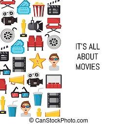 płaski, kino, tekst, ikony, ilustracja, wektor, miejsce, tło