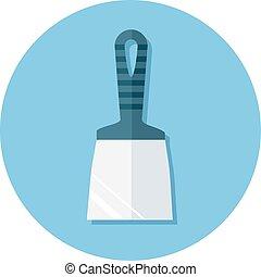 płaski, kitować nóż, ikony