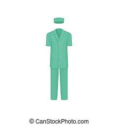 płaski, klasyk, odzież, medyczny, worker., chirurgiczny, suit., wektor, projektować, hat., samiec, kuso-sleeved, koszula, kalesony