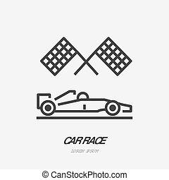 płaski, klatkowy, szkic, wozy, samochód, znak, wektor, bandery, wóz, logo, kreska, sport, biegi, icon., szybkość współzawodnictwo