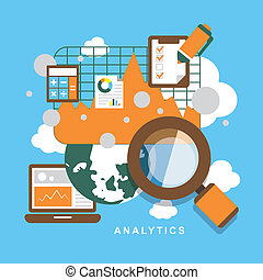 płaski, komplet, analytics, elementy, projektować, ikona
