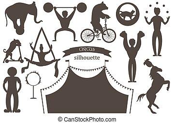 płaski, komplet, artists., cyrk, animals., sylwetka, wektor, akrobaci, wprawny, klowni