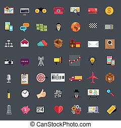 płaski, komplet, handlowy, ikona
