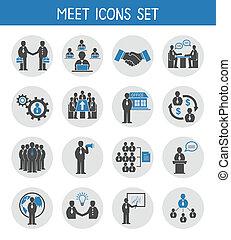płaski, komplet, handlowy zaludniają, ikony, spotkanie