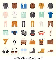 płaski, komplet, ikona, przybory, wektor, projektować, 3, samiec, odzież
