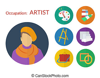 płaski, komplet, ikony, artysta, wektor, projektować