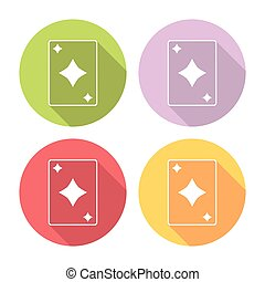 płaski, komplet, ikony, dzwonek, garnitur, grając kartę
