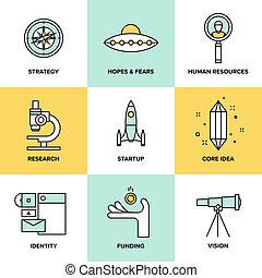 płaski, komplet, ikony, startup, elementy, klucz