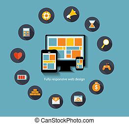 płaski, komplet, komputer, sieć, ruchomy, nowoczesny, urządzenia, zastosowanie, kolor, wektor, związany, ilustracja, szykowny, ikona