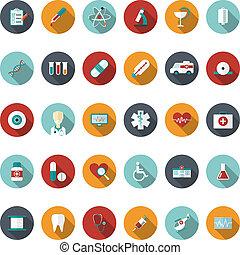 płaski, komplet, medyczna ilustracja, wektor, icons.