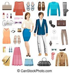płaski, komplet, patrzeć, clothes., fason zamiar, style.