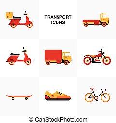 płaski, komplet, pojazd, przewóz, ikona