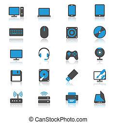 płaski, komputer, odbicie, ikony