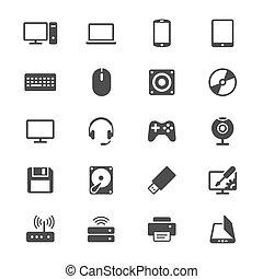 płaski, komputerowe ikony