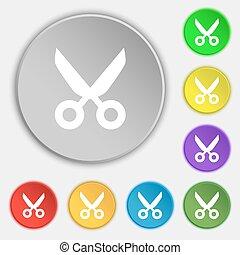 płaski, krawiec, buttons., fryzjer, symbol., znak, symbolika, wektor, osiem, nożyce, icon.