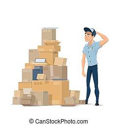 płaski, listonosz, wektor, poczta, poczta, paczki, ikona