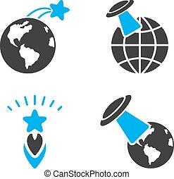 płaski, lot, bicolor, ufo, przestrzeń, wektor, ikony