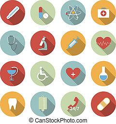 płaski, medyczny, wektor, komplet, ikony