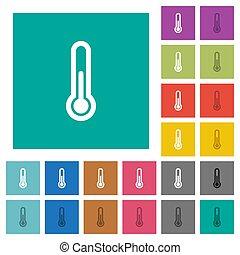 płaski, multi, skwer, barwny, ikony, termometr