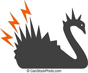 płaski, niebezpieczeństwo, symbol, łabędź, wektor, czarnoskóry, ikona