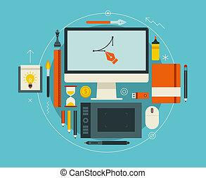 płaski, nowoczesny, ilustracja, twórczy, wektor, projektować, workspace