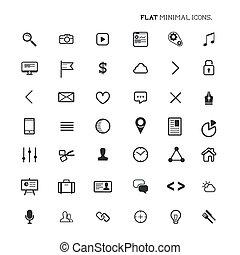 płaski, nowoczesny, minimalny, ikony