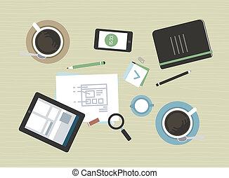 płaski, nowoczesny, spotkanie, ilustracja handlowa