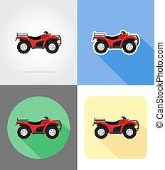 płaski, od, ikony, ilustracja, cztery, wektor, motocykl, drogi, koła, atv