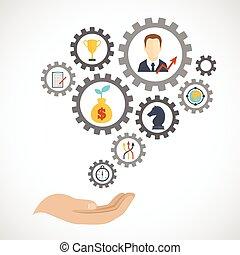 płaski, planowanie, strategia, handlowy, ikona