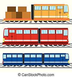 płaski, pociąg wystawiają, ikona, przewóz