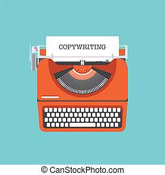 płaski, pojęcie, copywriting, ilustracja