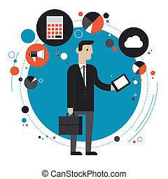 płaski, pojęcie, ilustracja technologii, handlowy